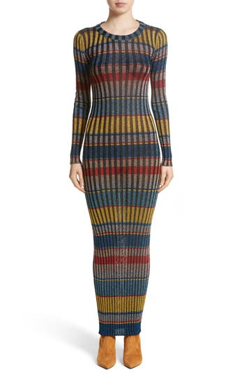 Missoni Metallic Stripe Knit Maxi Dress, US / 42 IT - Blue