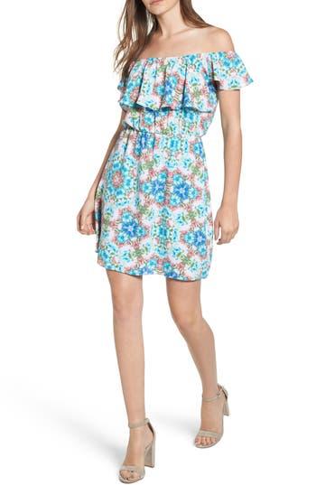 Everly Floral Off The Shoulder Dress, Blue