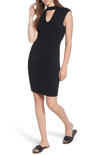 Women's Soprano Choker Knit Body-Con Dress, Size X-Small - Black