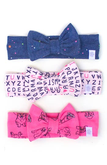 Rosie Pope Three-Pack Smart Cookie Bow Headband Set, Size One Size - Pink