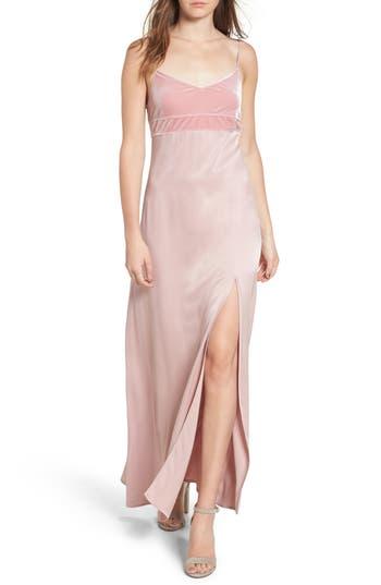 Leith Velvet & Satin Maxi Slipdress, Pink