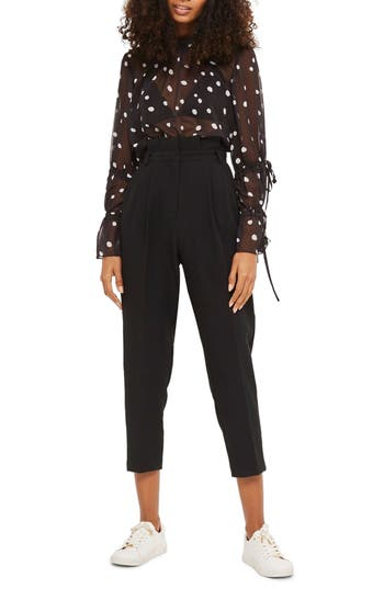 Women's Topshop Pleated Waist Peg Trousers