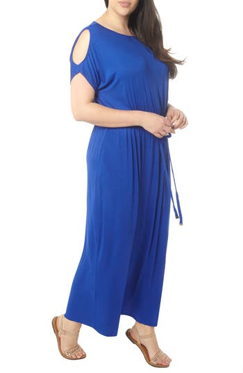 Plus Size Dorothy Perkins Cold Shoulder Jersey Maxi Dress, W US / 20 UK - Blue