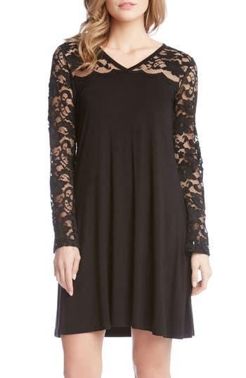 Women's Karen Kane Scalloped Lace Yoke Shift Dress, Size X-Small - Black