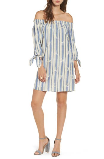 Everyly Tie Sleeve Off The Shoulder Shift Dress, Blue
