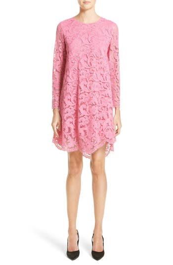 Adam Lippes Corded Lace Trapeze Dress, Pink