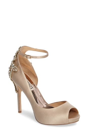 Badgley Micshka Karson Embellished Peep Toe Pump, Beige