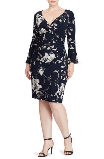 Plus Size Lauren Ralph Lauren Floral Bell Sleeve Jersey Dress, Blue