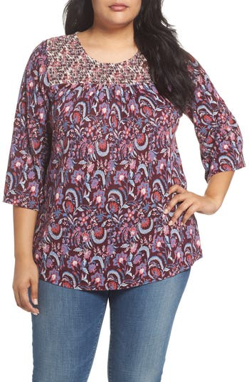 Plus Size Lucky Brand Smocked Mix Print Top, Red