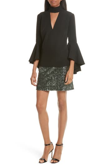 Women's Milly Andrea Bell Sleeve Top, Size 0 - Black