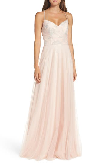 Hayley Paige Occasions Embellished Bodice Net Halter Gown, Beige