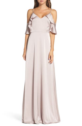 Monique Lhuillier Bridesmaids Isabel Sateen Cold Shoulder Gown, Pink