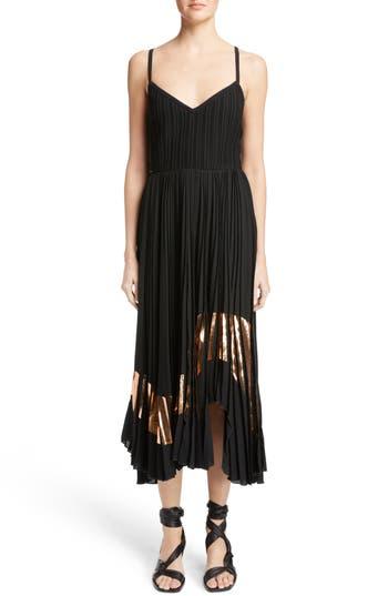 Proenza Schouler Foil Print Pleated Midi Dress, Black