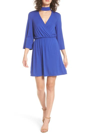 Everly Surplice Choker Dress, Blue
