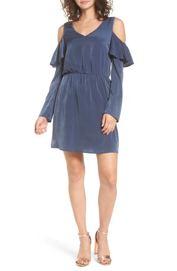 Everly Ruffle Satin Cold Shoulder Dress, Blue
