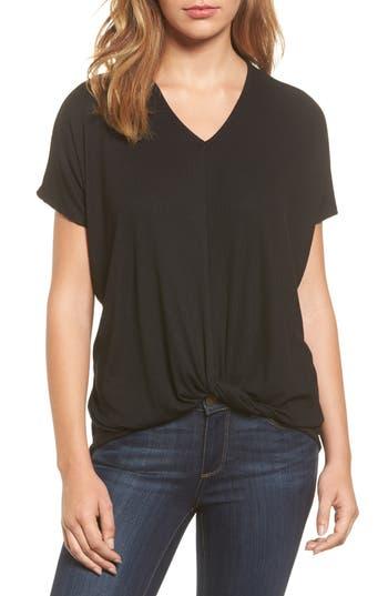 Women's Bobeau Twist Front V-Neck Tee, Size X-Small - Black