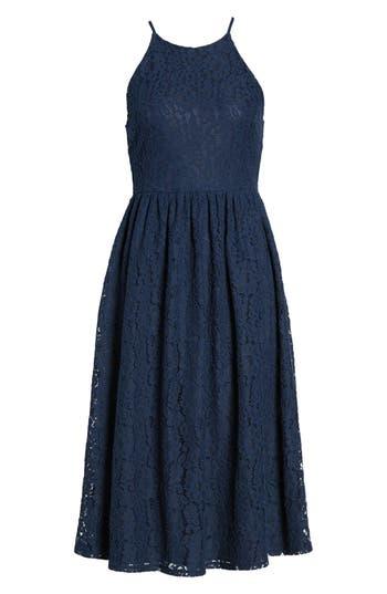 Soprano High Neck Lace Midi Dress, Blue
