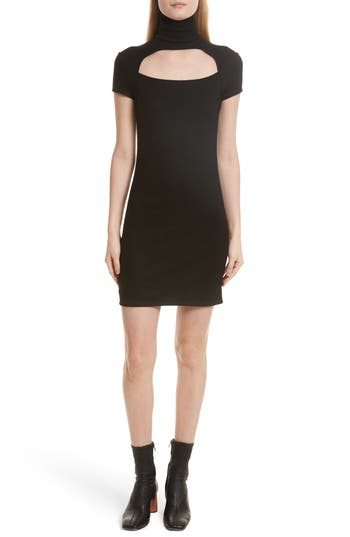 Helmut Lang Cutout Wool Blend Dress, Black