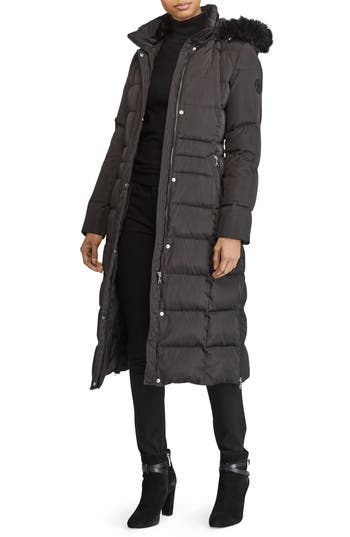 Lauren Ralph Lauren Faux Fur Trim Down & Feather Fill Maxi Coat, Black
