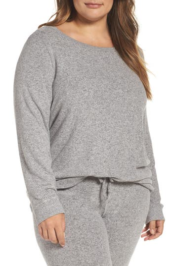 Plus Size Women's Make + Model Graphic Brushed Hacci Sweatshirt