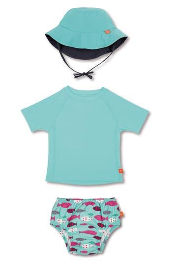 Infant Lassig Two-Piece Rashguard Swimsuit & Hat Set, Blue/green