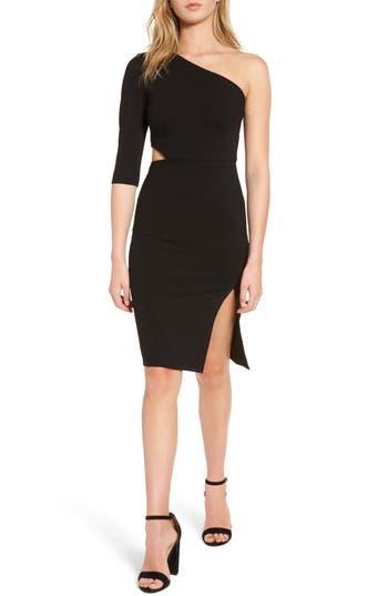 Soprano Side Cutout One-Shoulder Dress, Black
