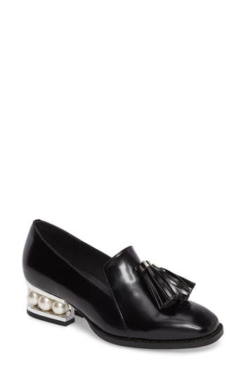 Jeffrey Campbell Lawford Pearly Heeled Loafer- Black