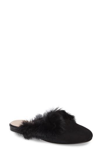 Patricia Green Stella Genuine Rabbit Fur Loafer Mule, Black