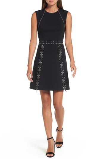 Michael Michael Kors Pyramid Stud Zipper Detail Dress, Black