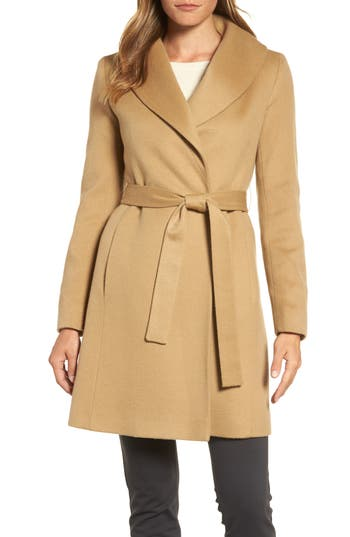 Women's Fleurette Shawl Collar Cashmere Wrap Coat, Size 0 - Beige