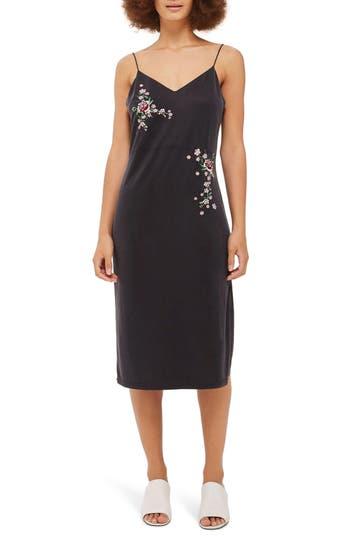 Topshop Embroidered Slipdress, US (fits like 0) - Black