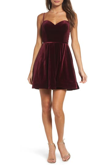 La Femme Strappy Back Velvet Skater Dress, Red