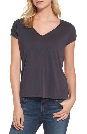 Lucky Brand Slit Sleeve V-Neck Tee, Black