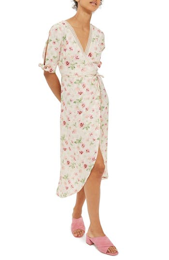 Women's Topshop Floral Wrap Midi Dress, Size 2 US (fits like 0) - Ivory