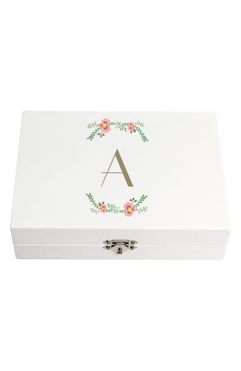 Cathy's Concepts Monogram Floral Wedding Ring Box - White