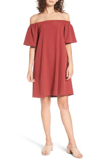 Bp. Off The Shoulder Shift Dress, Red
