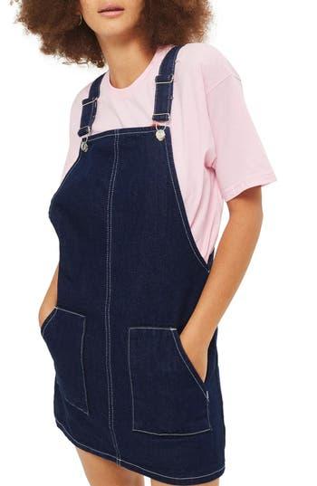 Topshop Denim Pinafore Dress, US (fits like 0) - Blue