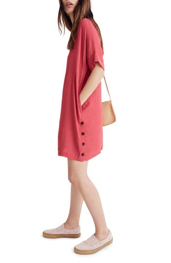 Madewell Journal Side Button Dress, Red