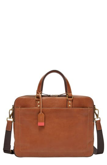 Fossil Defender Leather Briefcase - Brown