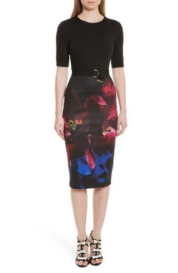 Ted Baker London Alaxane Impressionist Body-Con Dress, Black