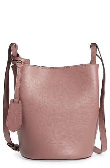 Burberry Small Lorne Leather Bucket Bag - Purple