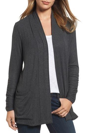 Women's Bobeau Ruched Sleeve Cardigan, Size X-Small - Grey