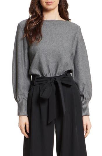 Women's Milly Couture Pintuck Pullover, Size Petite - Grey