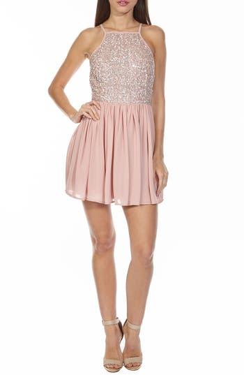 Lace & Beads Sprinkle Sequin Skater Dress, Pink