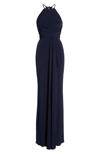 Amsale Jones Ruched Halter Gown, Blue
