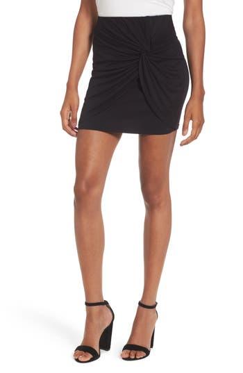 Lush Knot Front Miniskirt, Black