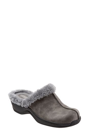 Softwalk Abigail Clog With Faux Shearling Trim N - Grey