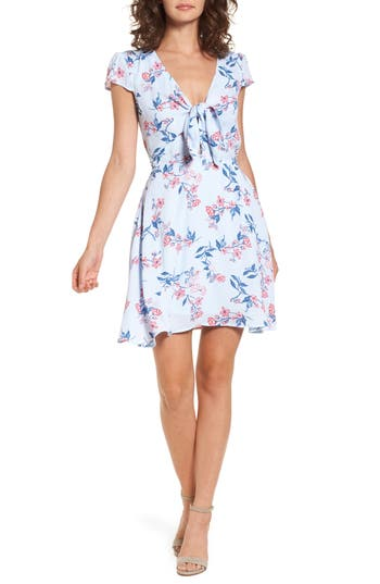 Bp. Floral Tie Front Dress, Blue