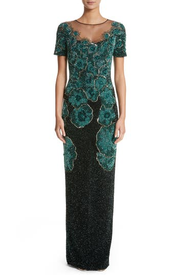 Pamella Roland Floral Sequin Column Gown, Green