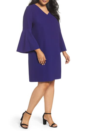 Plus Size Tahari Bell Sleeve Crepe Shift Dress, Purple